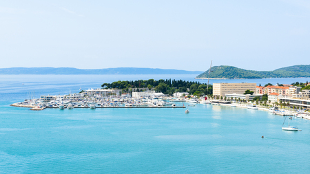 Panoramic view of the port of Split, Croatia, and the Adriatic Sea