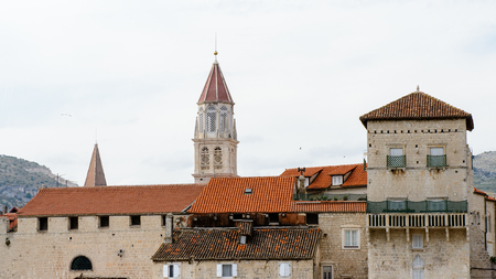 Bell tower of the Cathedral of St. Lawrence and other roof tops  in Trogir, Croatia. UNESCO World heritage