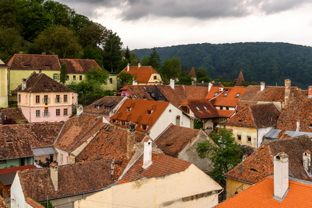 Roof tops of the historic center of Sighisoara, Romania.