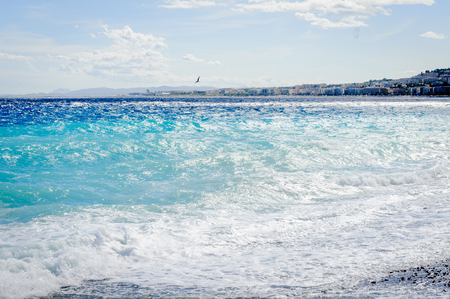 Mediterranean sea, Cote d Azur,Nice, France. Nice is the capital of the Alpes Maritimes departement