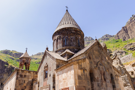 Monastery of Geghard, unique architectural construction in the Kotayk province of Armenia. Stok Fotoğraf