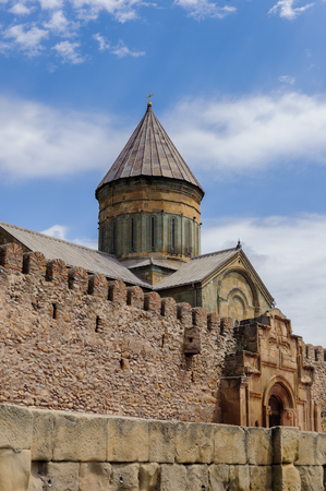 Svetitskhoveli Cathedral (Living Pillar Cathedral), a Georgian Orthodox cathedral located in the historical town of Mtskheta, Georgia. Banco de Imagens