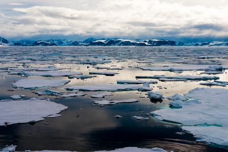 Stukken ijs op het water in de Noordpool