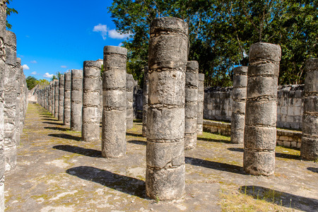 Group of thousands columns, Chichen Itza, Tinum Municipality, Yucatan State. It was a large pre-Columbian city built by the Maya people of the Terminal Classic period.