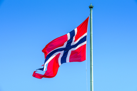Norwegian national flag, Oslo, the capital of Norway
