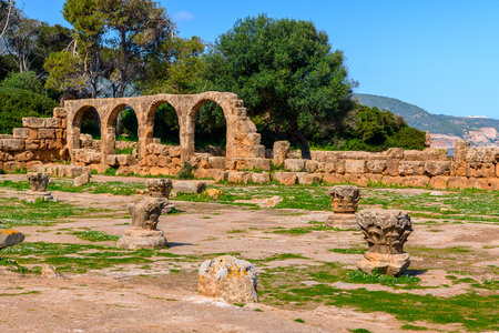 Vestiges of the Christian church in Tipasa, a colonia in Roman province Mauretania Caesariensis, nowadays Algeria. Imagens - 110840777