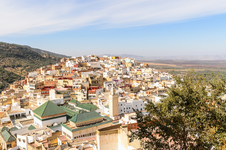 Spectacular aerial view of Moulay Idriss, the holy town in Morocco, named after Moulay Idriss I arrived in 789 bringing the religion of Islam Banco de Imagens