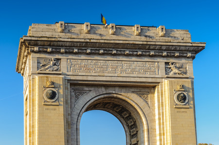 Arcul de Triumf, a triumphal arch, the northern part of Bucharest, on the Kiseleff Road