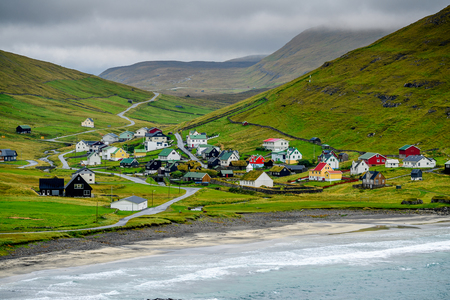 Houses of Sandoy, one of the biggest of all the Faroe Islands, autonomous region of the Kingdom of Denmark