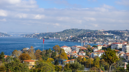Asian part of Istanbul and its panoramic view and the Bosphorus river, Turkey.