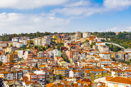 Panoramic view of the house tops Istanbul, Turkey Stock Photo