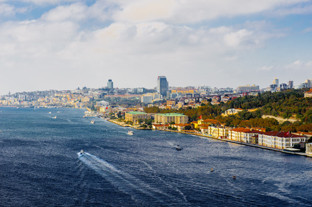 Panorama of the European part (Ortakoy) of Istanbul, Turkey Stock Photo