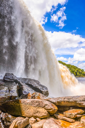 Spectacular Waterfall in the Canaima Lagoon, Canaima National Park