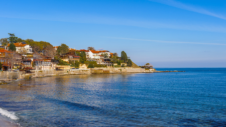 Southern bay of the old town of Nesebar, Bulgaria, Bulgarian Black Sea Coast.