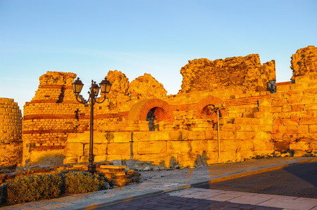Fortifications at the entrance of the Old town of Nesebar, Bulgaria, Bulgarian Black Sea Coast. Stock Photo