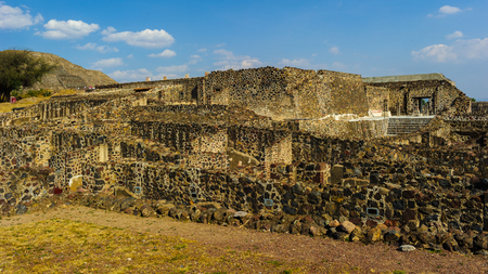 Ruins of the Pyramids of Pre-Columbian city Teotihuacan, Mexico 免版税图像