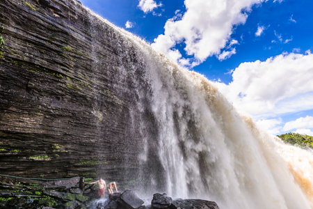 Beautiful Waterfall in the Canaima Lagoon, Canaima National Park, South America