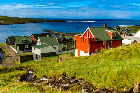Roof tops in Suduroy, the southernmost of the Faroe Islands, autonomous region of the Kingdom of Denmark