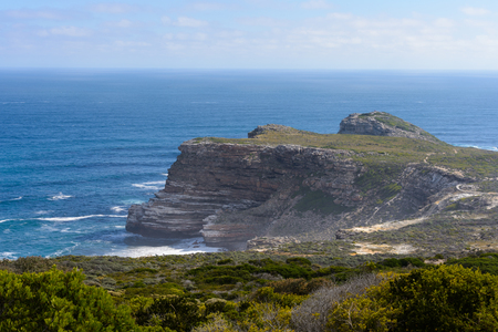 Cape of Good Hope, the southern tip of Africa, because it was once believed to be the dividing point between the Atlantic and Indian Oceans. Stok Fotoğraf - 112552694