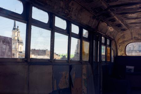 Interior of a Russian old fashioned passenger bus. Standard-Bild - 112605122