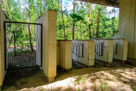 Entrance to the former sports stadium in Pripyat, a ghost town in northern Ukraine, evacuated the day after the Chernobyl disaster on April 26, 1986 Stock Photo