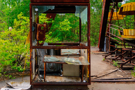 Former ticket selling point for the Observation wheel carousel in the former musement park in Pripyat, a ghost town in northern Ukraine, evacuated the day after the Chernobyl disaster on April 26, 1986