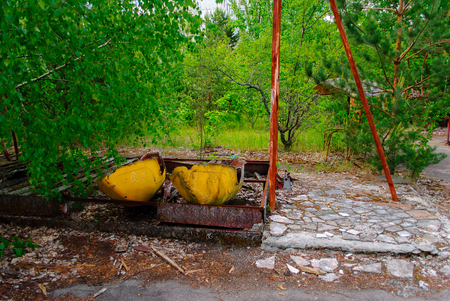 Former amusement park in Pripyat, a ghost town in northern Ukraine, evacuated the day after the Chernobyl disaster on April 26, 1986 Stock Photo