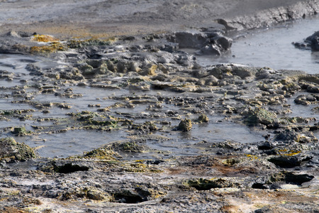 Nature of Namafjall, a high-temperature geothermal area with fumaroles and mud pots in Iceland