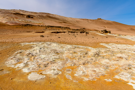 Namafjall, a high-temperature geothermal area with fumaroles and mud pots in Iceland