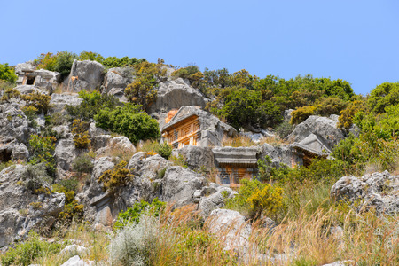 Rock cut tombs of the ancient Lycian necropolis, Myra, Turkey