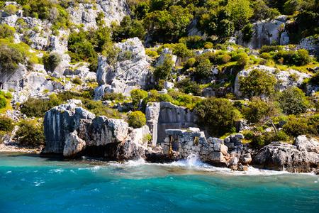 Lycian city on the Kekova island, Antalya province, Turkey