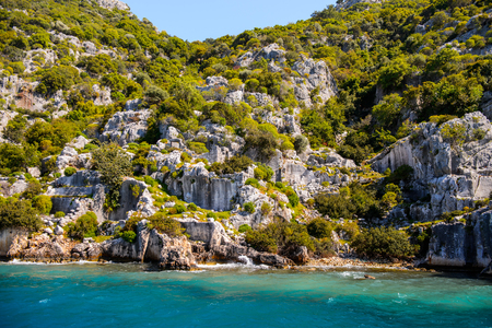 Lycian city on the Kekova island, Antalya province, Turkey 版權商用圖片 - 112676336
