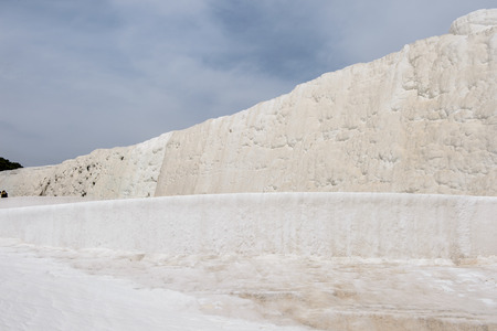 Natural travertine terraces at Pamukkale ,Turkey.