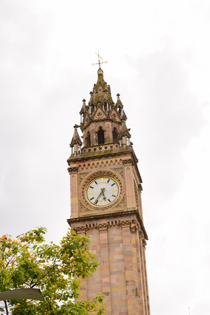Prince Albert Memorial Clock at Queen's Square of Belfast, the capital and largest city of Northern Ireland