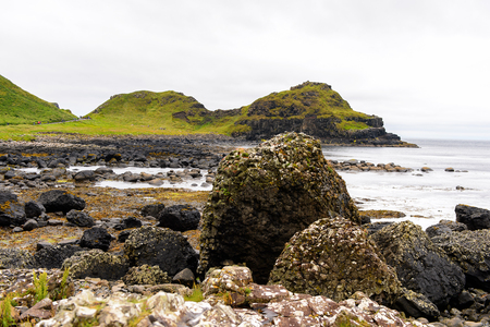 Spectacular view of the Giant's Causeway and Causeway Coast, the result of an ancient volcanic eruption
