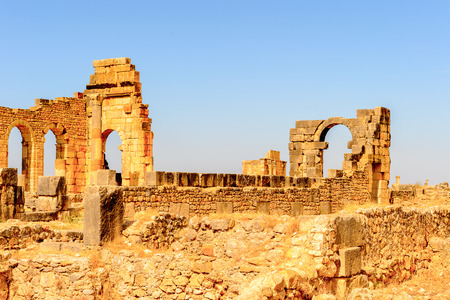 Volubilis, an excavated Berber and Roman city in Morocco, ancient capital of the kingdom of Mauretania.