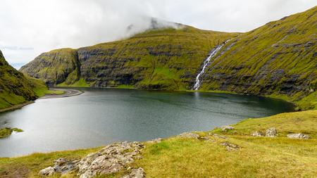 Little waterfall of Eysturoy, Faroe Islands, autonomous region of the Kingdom of Denmark
