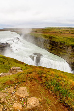 Gullfoss, a waterfall in the canyon of Olfusa river in southwest Iceland