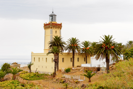 Spartel lighthouse of Tangier, a major city in northern Morocco. It is the capital of the Tanger-Tetouan-Al Hoceima Region and of the Tangier-Assilah prefecture of Morocco. Banque d'images