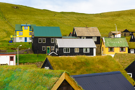 Architecture of Mykines, the westernmost island the Faroe Archipelago Stok Fotoğraf