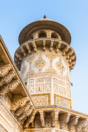 Minaret of the Itmad-Ud-Daulah Mausoleum (Jewel Box or the Baby Taj) in Agra, Uttar Pradesh, India. It was referred as a draft for Taj Mahal Stock Photo