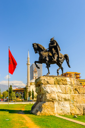 TIRANA, ALBANIA - SEPTEMBER 23, 2013: Skanderberg monument on the Skanderbeg Square, the main plaza named in 1968 after the Albanian national hero Skanderbeg, on September 23, 2013, Tirana, Albania, Editorial