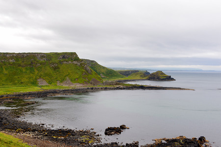 Panorama of the Giant's Causeway and Causeway Coast, the result of an ancient volcanic eruption Stock Photo