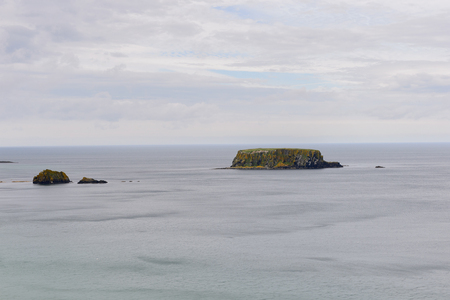 Beautiful view of Carrick-a-Rede, Causeway Coast Route, National Trust. Northern Ireland