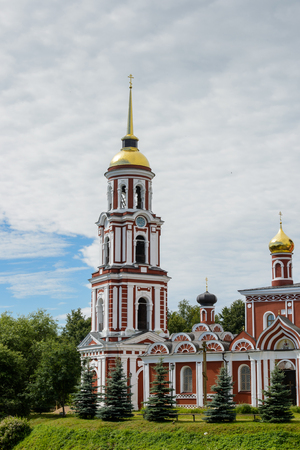 Resurection Cathedral, an orthodox church on a bank of the river in Staraya Russa, a town in Novgorod District, Russia