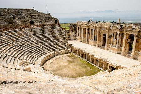 Amphitheater in ancient Hierapolis, Pamukkale, Turkey.