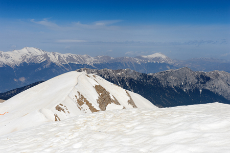 Snow on the top of the Tahtali mountain in Turkey Stock fotó