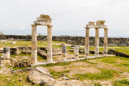 Ancient columns in Hierapolis, Pamukkale, Turkey.
