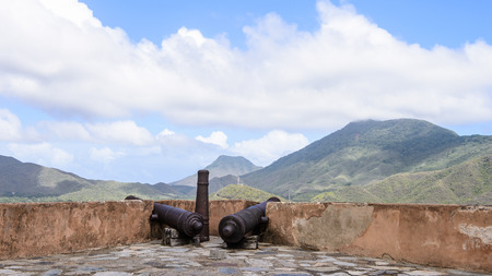 Cannons of the Castillo Santa Rosa (Santa Rosa Castle), historic fort in La Asuncion, Isla Margarita, Venezuela