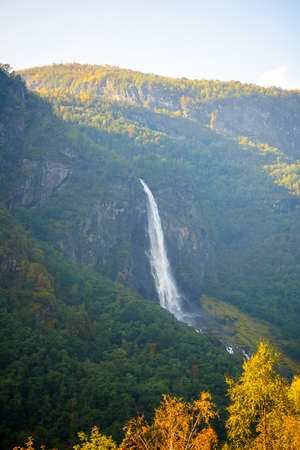 Waterfall on the mountains of Norway Banco de Imagens